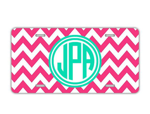 Pink and tuquoise chevron -  Customizable license plate or frame - Cute car decor