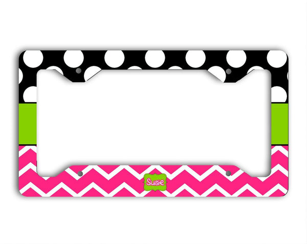 Pink and black chevron with polka dota -  Monogram rear car tag frame or plate