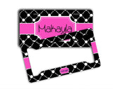 Pink and black polka dots - Cute front license plate or frame - Sweet 16 gift