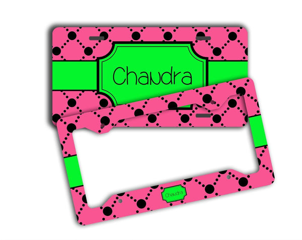 Pink and black dot pattern - Lime green license plate or frame -Birthday gift for granddaughters