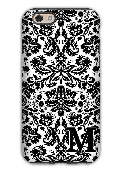 Black and white damask - Monogrammed Iphone case for women