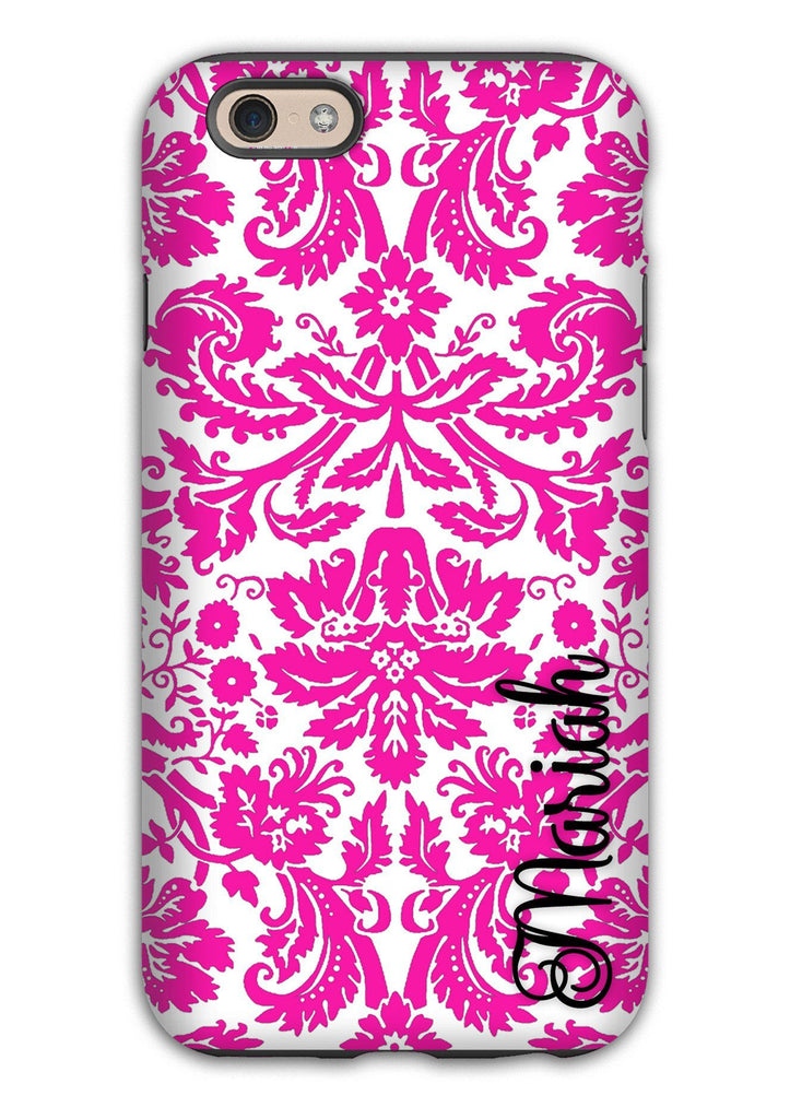 Hot pink floral damask - Pretty monogrammed Iphone case - Gift for women