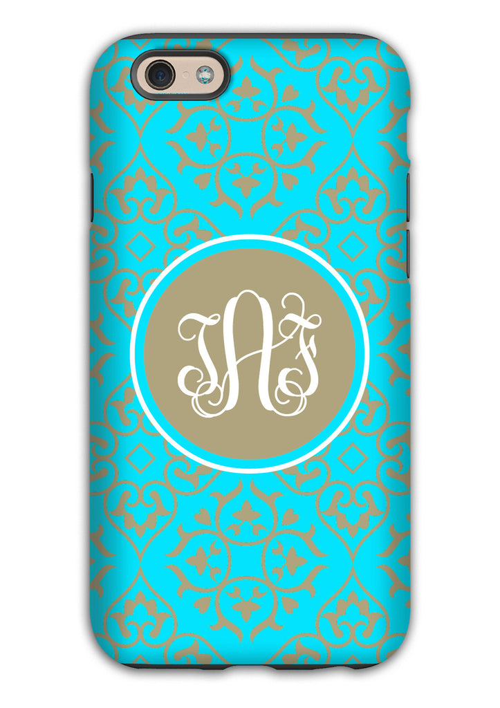 Turquoise damask with gray accents - Customizable Iphone case for women