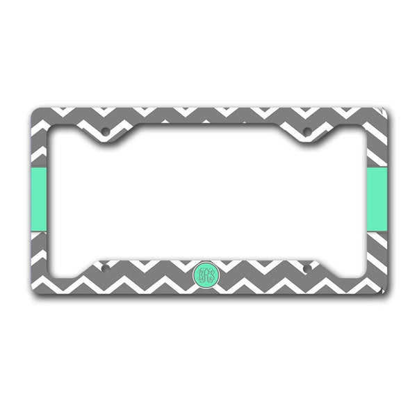 Gray and turquoise chevron - Monogram car tag - Gifts for women