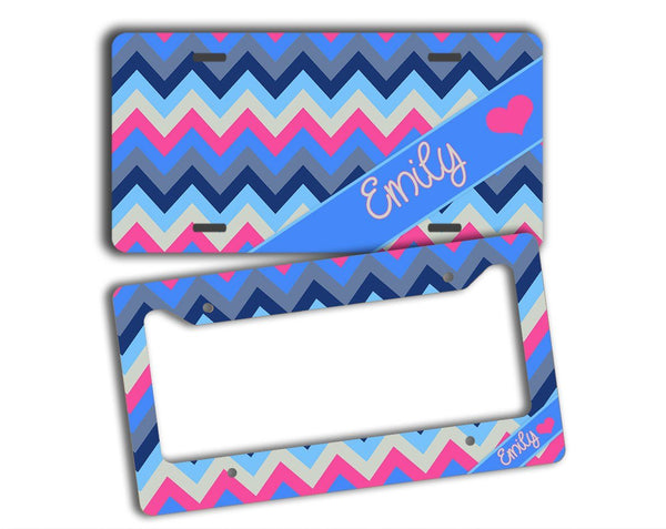 Pink and blue multicolor chevron - Custom car accessories - Gifts for daughters