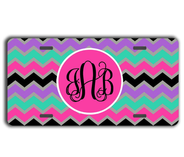 CUTE MULTICOLORED CHEVRON - MONOGRAMMED LICENSE PLATE