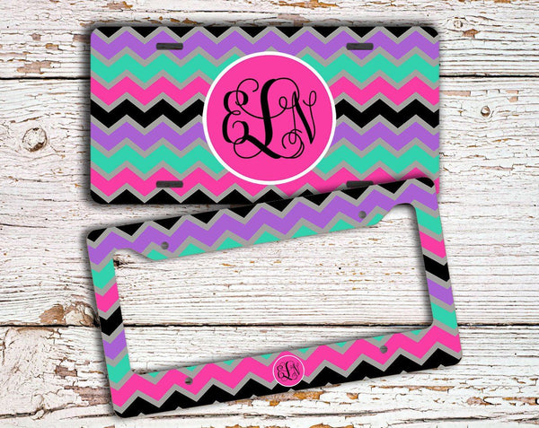 Cute monogrammed chevron - Monogrammed car decal - Auto decoration for her