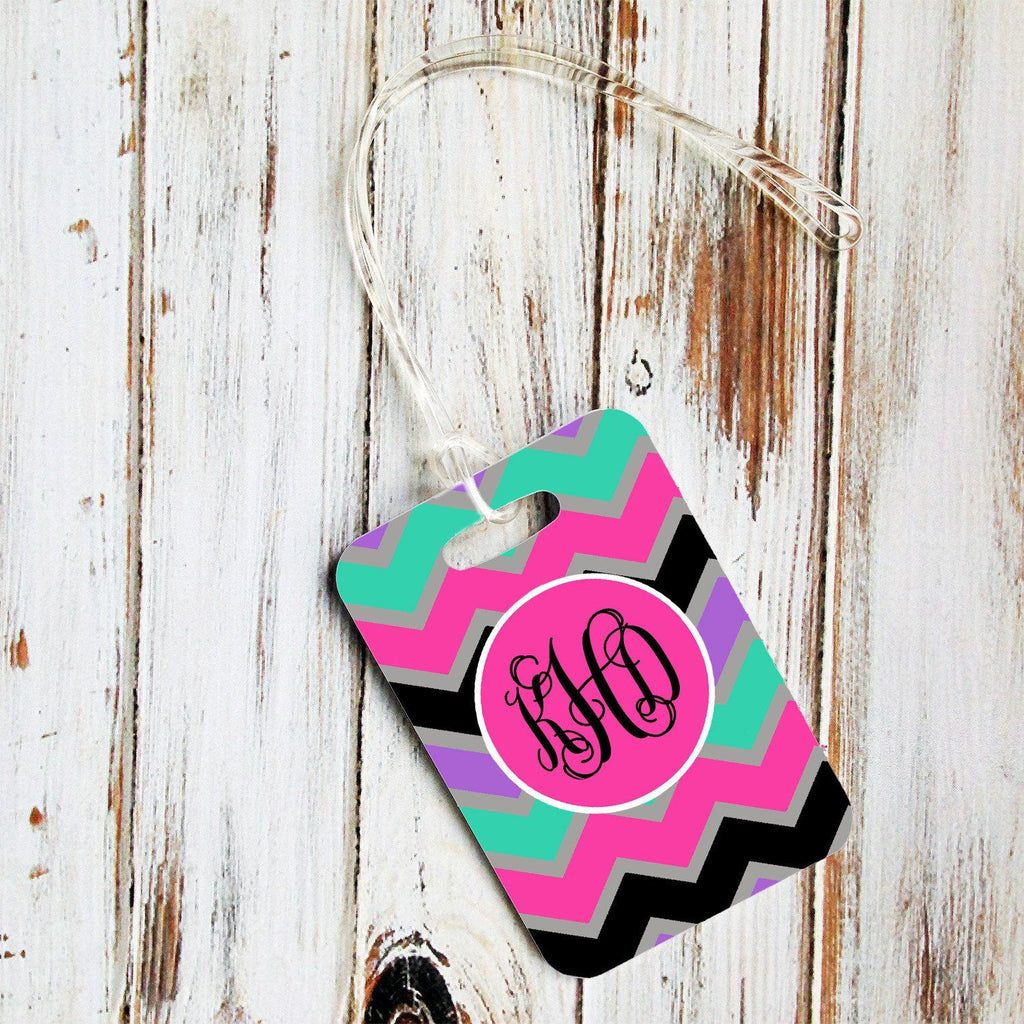 Cute monogrammed chevron - Monogrammed sports bag tag - Back to school gift