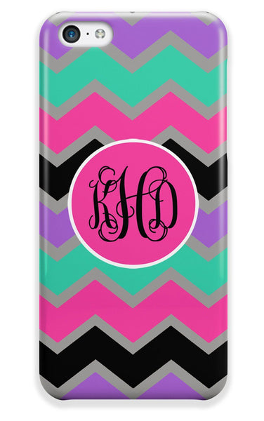 Multicolor chevron - Purpel, Aqua, pink - Customizable Iphone case