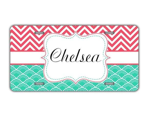 Chevron and shell pattern - Monogrammed car window decal - Gifts for grandma
