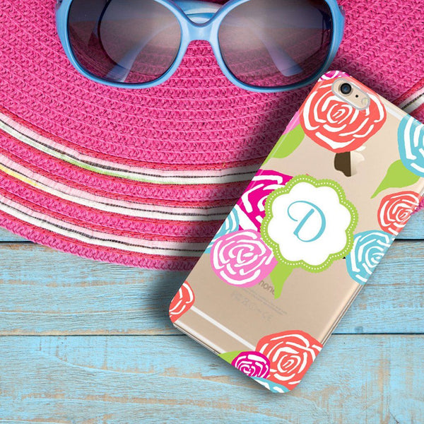 Clear iPhone case with design - Pink, blue and red flowers - Christmas gift for women