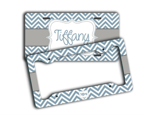 Blue with gray chevron - Monogrammed car cup holder coasters - Interior decor