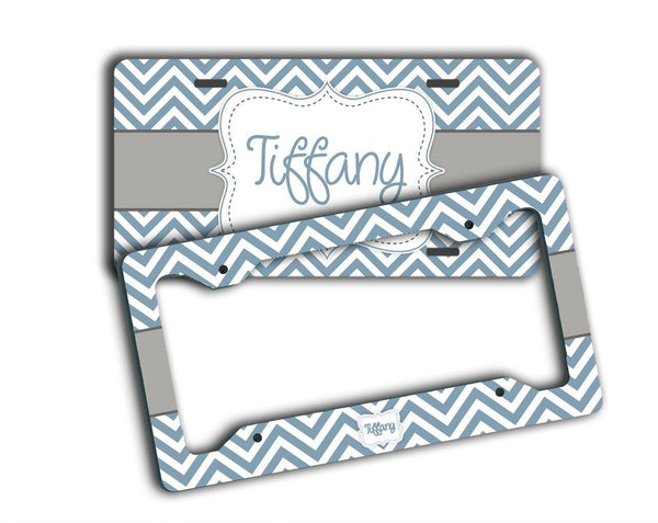 Blue with gray chevron - Monogrammed car accessories - Gifts for girls