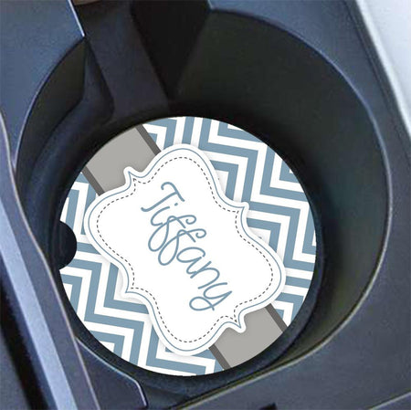 Monogrammed car cup holder coasters - Interior car decor - Pink yellow blue flowers