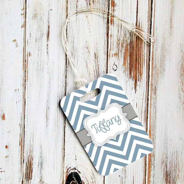 Blue with gray chevron - Monogrammed identification tag - Gifts for girls