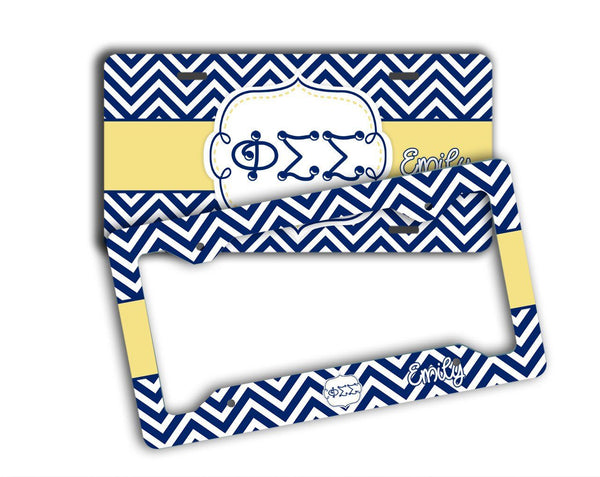 PHI SIGMA SIGMA - THIN CHEVRON BLUE AND GOLD - PERSONALIZED LICENSE PLATE