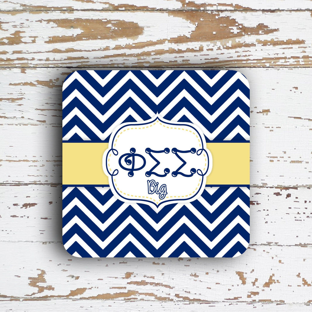 PHI SIGMA SIGMA - THIN CHEVRON WITH SORORITY LETTERS - MONOGRAMMED COASTER