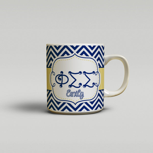 PHI SIGMA SIGMA - THIN CHEVRON BLUE AND GOLD - PHI SIG SORORITY COFFEE MUG