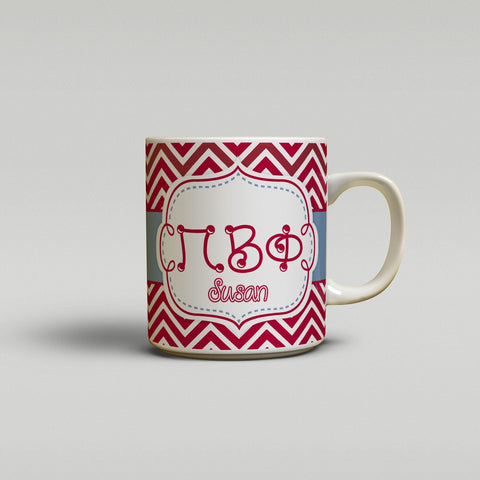 PI BETA PHI - THIN CHEVRON MAROON - PiPhi SORORITY COFFEE MUG