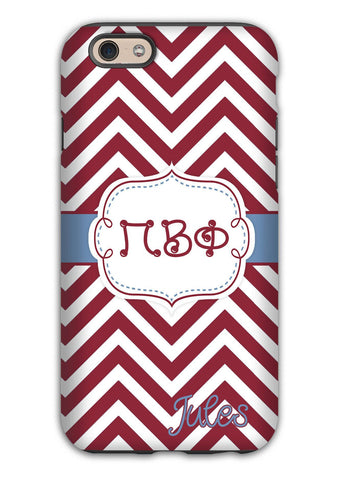 PI BETA PHI - THIN CHEVRON MAROON - PiPhi SORORITY IPHONE CASE