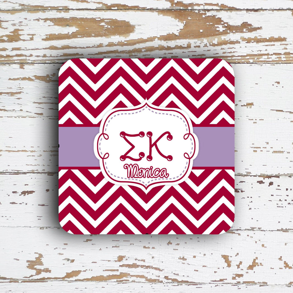SIGMA KAPPA - THIN CHEVRON WITH SORORITY LETTERS - MONOGRAMMED COASTER