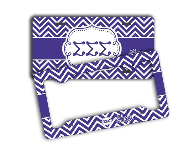 SIGMA SIGMA SIGMA - THIN PURPLE CHEVRON - TRI SIG LICENSE PLATE