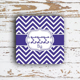 SIGMA SIGMA SIGMA - THIN CHEVRON WITH SORORITY LETTERS - MONOGRAMMED COASTER