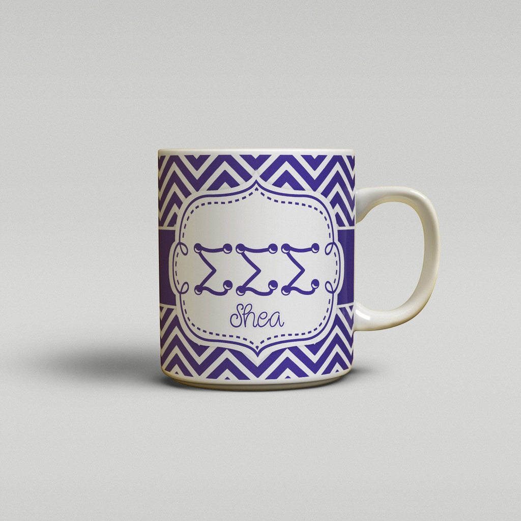 SIGMA SIGMA SIGMA - THIN PURPLE CHEVRON - TRI SIG SORORITY COFFEE MUG