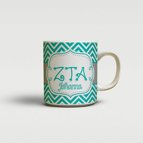 ZETA TAU ALPHA - THIN TURQUOISE CHEVRON - ZTA SORORITY COFFEE MUG