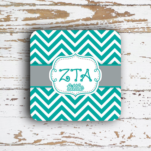 ZETA TAU ALPHA - THIN CHEVRON WITH SORORITY LETTERS - MONOGRAMMED COASTER