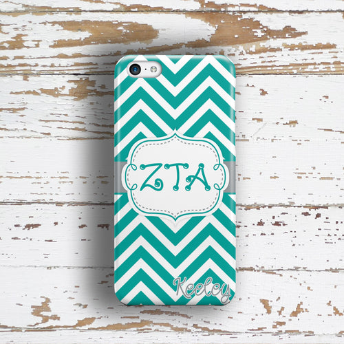 ZETA TAU ALPHA - THIN TURQUOISE CHEVRON - ZTA SORORITY IPHONE CASE