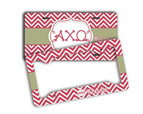 ALPHA CHI OMEGA - THIN CHEVRON WITH SORORITY LETTERS - MONOGRAMMED LICENSE PLATE