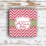 ALPHA CHI OMEGA - THIN CHEVRON WITH SORORITY LETTERS - MONOGRAMMED COASTER