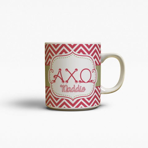ALPHA CHI OMEGA - THIN CHEVRON WITH SORORITY LETTERS - MONOGRAMMED MUG