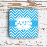 ALPHA DELTA PI - THIN CHEVRON WITH SORORITY LETTERS - MONOGRAMMED COASTER