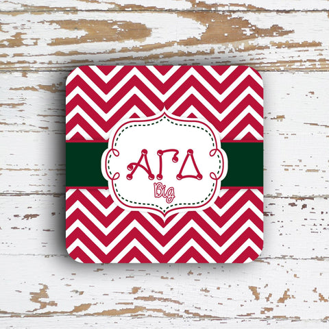 ALPHA GAMMA DELTA - THIN CHEVRON WITH SORORITY LETTERS - MONOGRAMMED COASTER