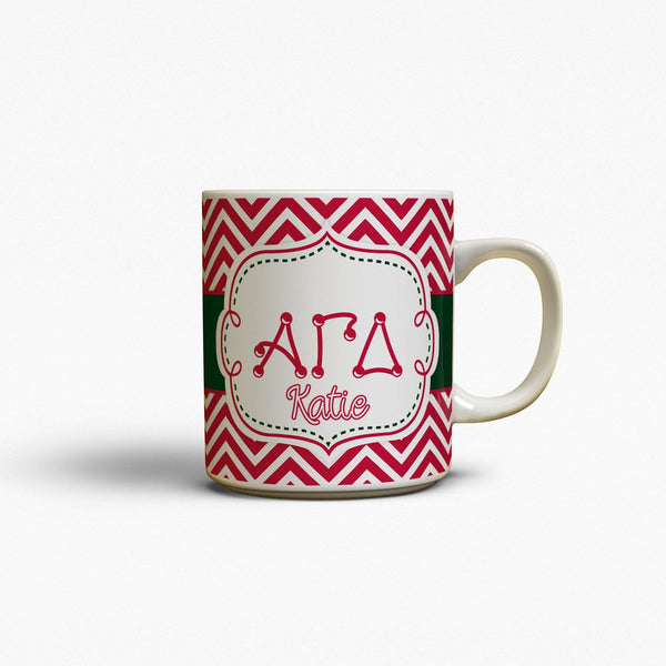 ALPHA GAMMA DELTA - THIN RED CHEVRON WITH GREEN - AGD MUG
