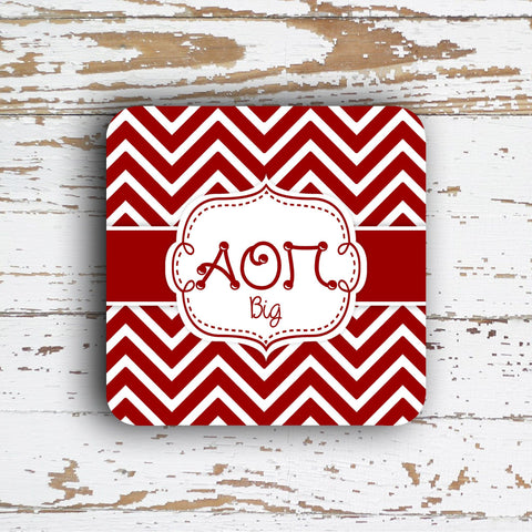 ALPHA OMICRON PI - THIN CHEVRON WITH SORORITY LETTERS - MONOGRAMMED COASTER