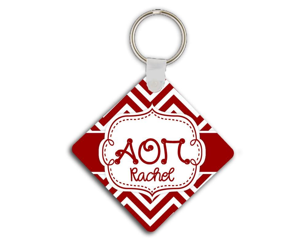ALPHA OMICRON PI - THIN RED CHEVRON - AOPi  SORORITY KEYCHAIN