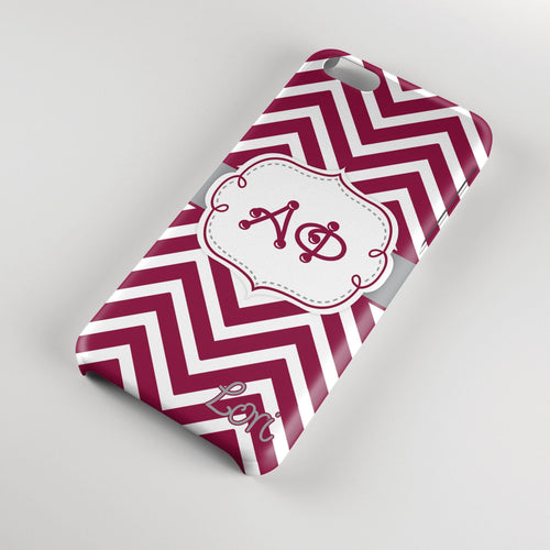 Alpha Phi - Thin maroon chevron with grey - Sorority Iphone case