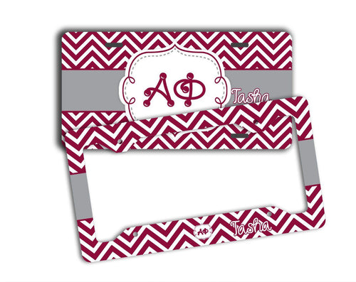 ALPHA PHI - THIN MAROON CHEVRON WITH GREY - SORORITY LICENSE PLATE