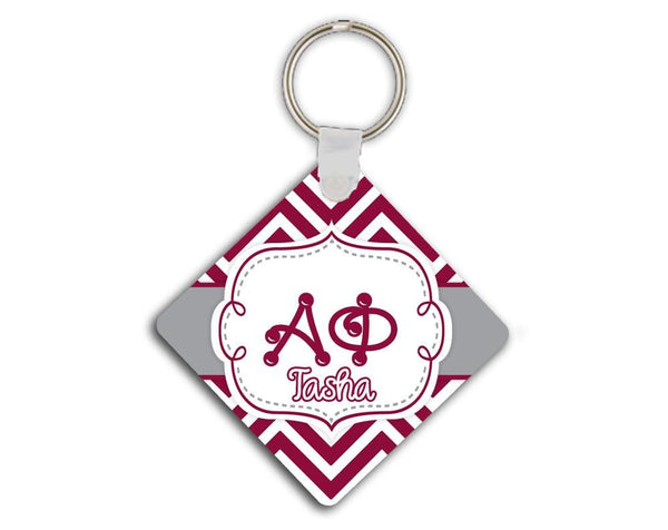 ALPHA PHI - THIN MAROON CHEVRON WITH GREY - SORORITY KEYCHAIN