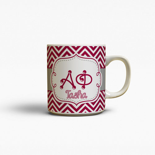 ALPHA PHI - THIN MAROON CHEVRON WITH GREY - SORORITY COFFEE MUG