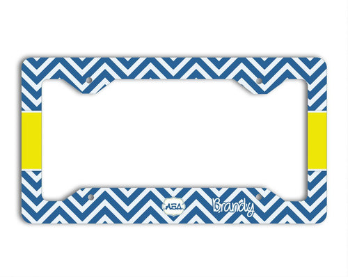 ALPHA XI DELTA - THIN BLUE AND SILVER CHEVRON WITH YELLOW - AXiD LICENSE PLATE