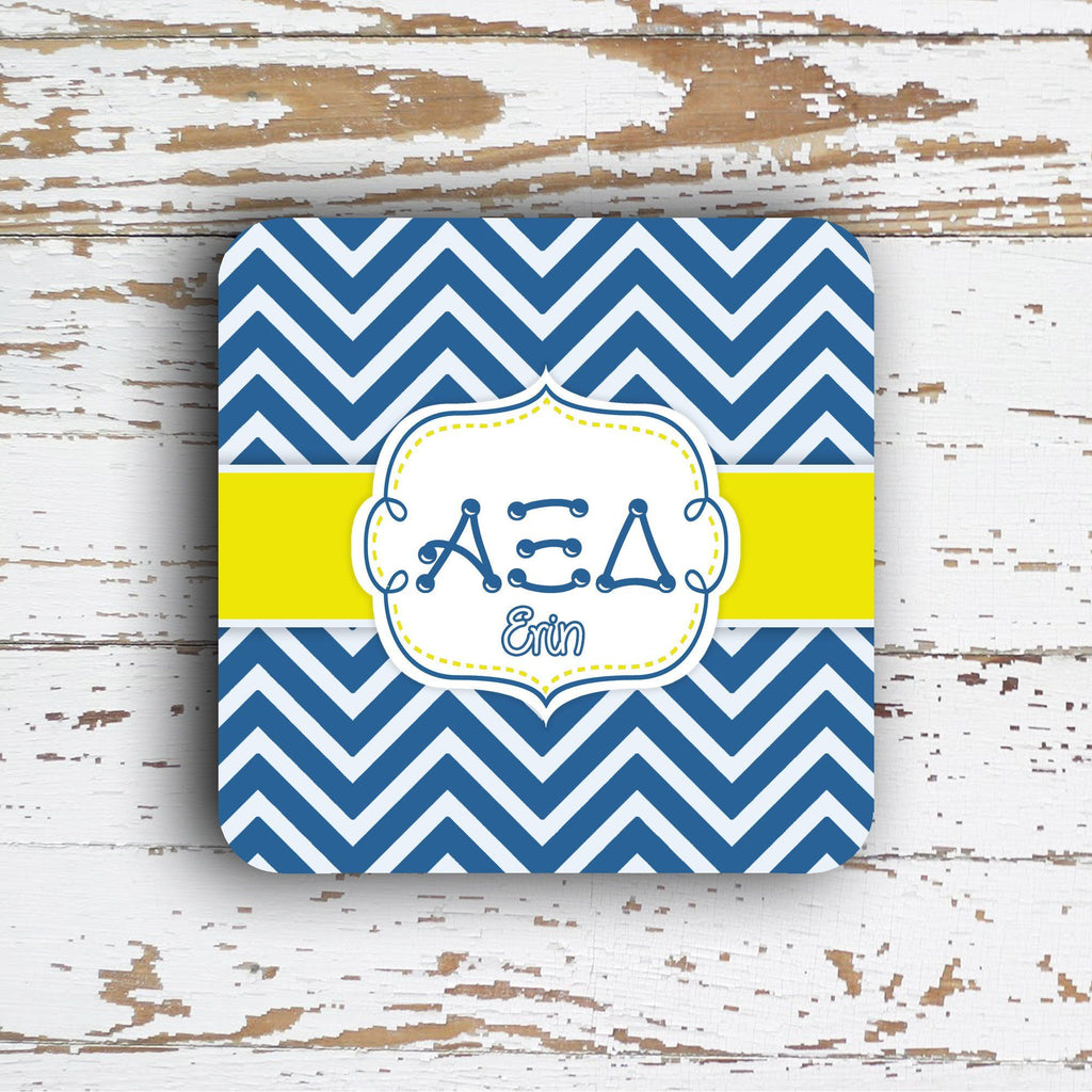 ALPHA XI DELTA - THIN CHEVRON WITH SORORITY LETTERS - MONOGRAMMED COASTER