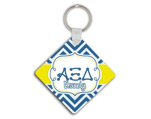 ALPHA XI DELTA - THIN BLUE AND SILVER CHEVRON WITH YELLOW - AXiD SORORITY KEYCHAIN