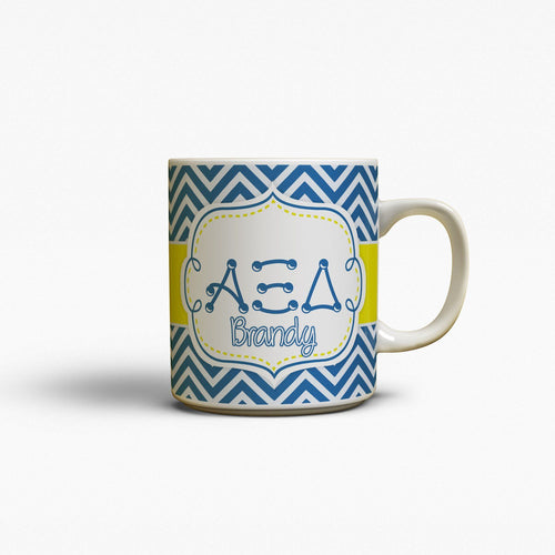 ALPHA XI DELTA - THIN BLUE AND SILVER CHEVRON WITH YELLOW - AXiD COFFEE MUG