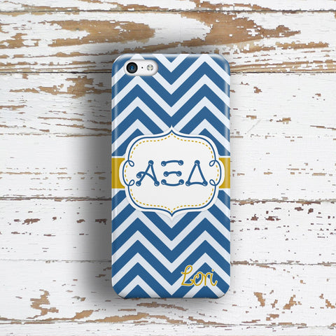 Alpha Xi Delta - Thin blue and silver chevron with gold - AXiD sorority Iphone case