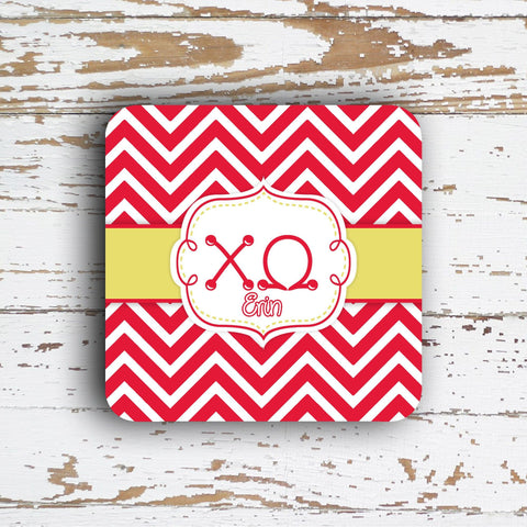 CHI OMEGA - THIN CHEVRON WITH SORORITY LETTERS - MONOGRAMMED COASTER