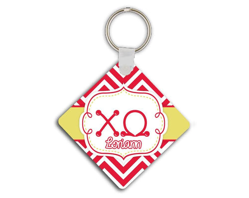 CHI OMEGA - THIN RED CHEVRON WITH YELLOW - ChiO SORORITY KEYCHAIN